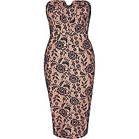 Pink lace bandeau pencil dress