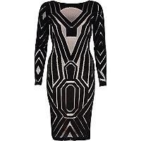 Black lace midi bodycon dress