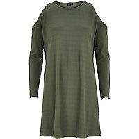 Khaki cold shoulder swing dress