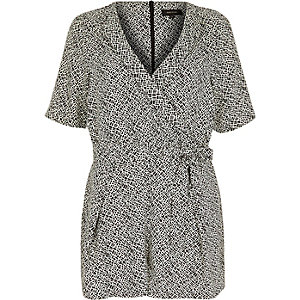 Black print wrapped playsuit