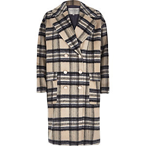 Cream check brushed woollen midi coat