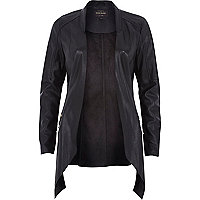 Black leather-look relaxed fit jacket