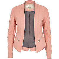 Pink leather-look fitted jacket