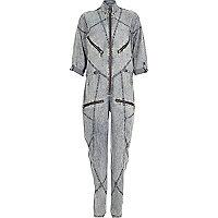 Blue Design Forum acid wash seamed jumpsuit