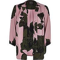 Pink floral print kimono