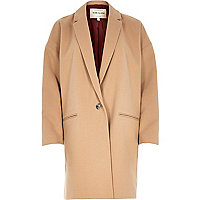 Brown camel cocoon swagger coat