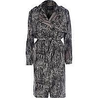 Black print crepe trench coat