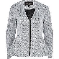 White pebble print V neck peplum jacket