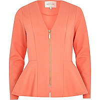 Orange V neck peplum jacket