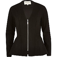 Black V neck peplum jacket