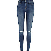 Dark wash ripped knee Molly Jegging