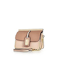 Pink luggage tag cross body bag