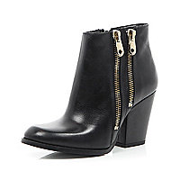 Black leather double zip trim ankle boots