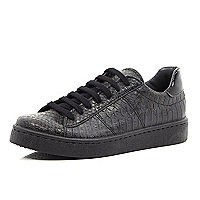Black mock croc lace up plimsoll