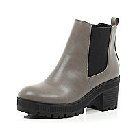 Grey chunky cleated sole Chelsea boots