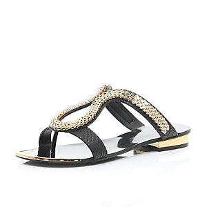 Black chain loop sandals