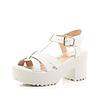 White snake print strappy chunky sandals