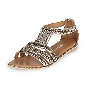 Pink leather bead and gem sandals