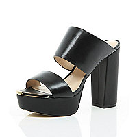Black leather block heel platform mules