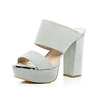 Grey leather block heel platform mules