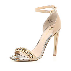 Nude chain front barely there sandals