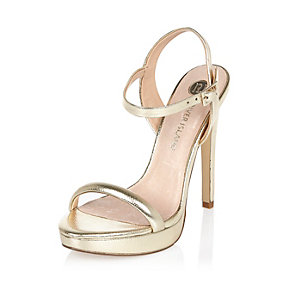 Gold leather barely there platform sandals