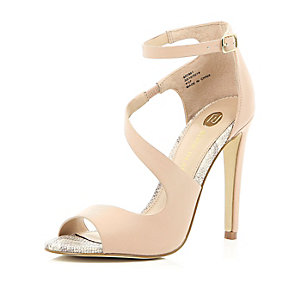 Pink textured asymmetric wrap front sandals