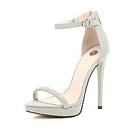 Grey barely there platform sandals