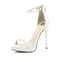 White platform barely there sandals