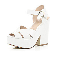 White cross strap platform sandals
