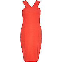 Red V strap bodycon dress