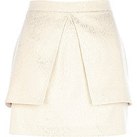 Gold metallic peplum mini skirt