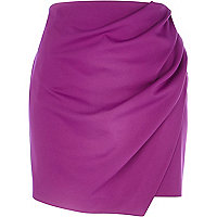 Purple wrapped drape mini skirt