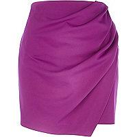 Purple wrapped drape mini skirt