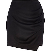 Black wrapped drape mini skirt