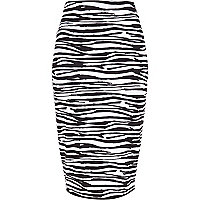 Black zebra print tube skirt