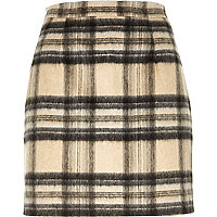 Beige check fluffy woolen skirt