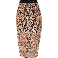 Coral lace overlay pencil skirt