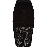 Black lace double layer pencil skirt