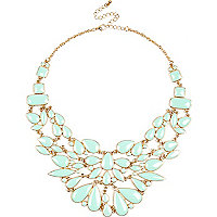 Green enamel statement necklace