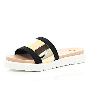 Black gold metal plate slip on sliders