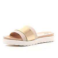 Pink rose gold metal plate slip on sliders