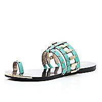 Turquoise loop toe studded sandals