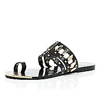 Black loop toe studded sandals