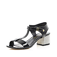 Black diamante heel strappy sandals
