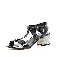 Black diamante heel strappy sandals