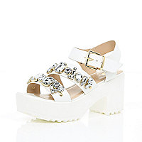 White chunky gem embellished sandals