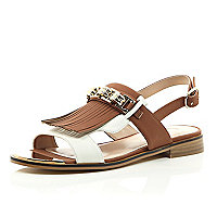 Brown tassel front slingback sandals