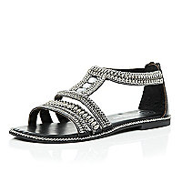 Black leather bead and gem sandals