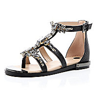 Black embellished gem strappy sandals